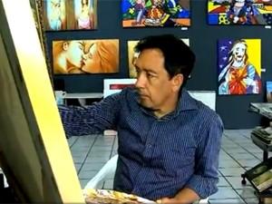Silvio Farias virou artista plástico (Foto: Reprodução/RBS TV)