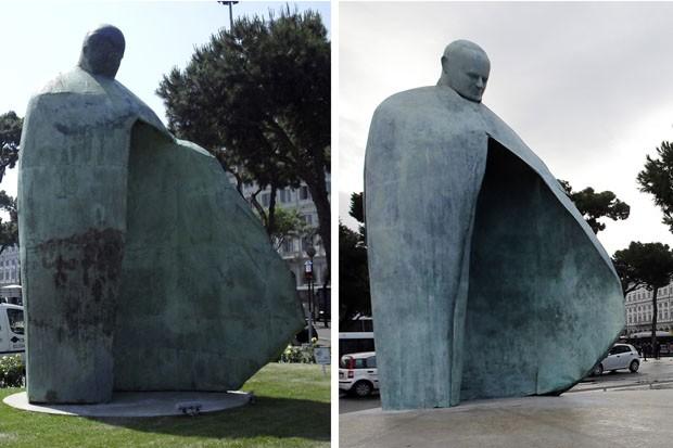 Estátua inaugurada em 2011 e a versão aprimorada instalada nesta segunda (19) em Roma (Foto: Gregorio Borgia/AP)