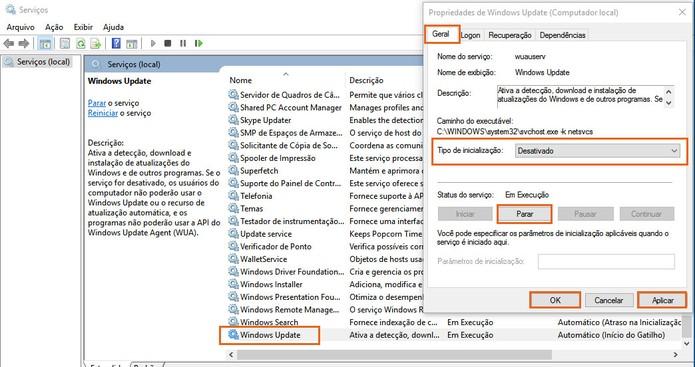 Pare e desative a ação do Windows Update no PC (Foto: Reprodução/Barbara Mannara)