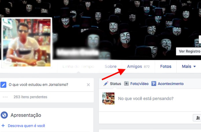 Acessando a lista de amigos de seu perfil no Facebook (Foto: Reprodução/Marvin Costa)