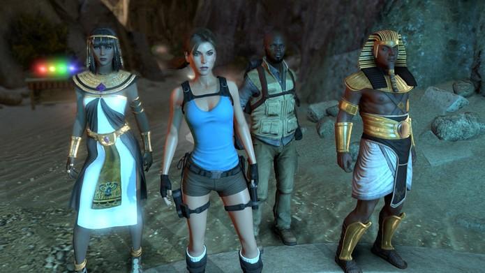 Lara Croft se une ao explorador Cartel Bell e às divindades Ísis e Hórus para lutar contra Osíris (Divulgação/Square Enix)