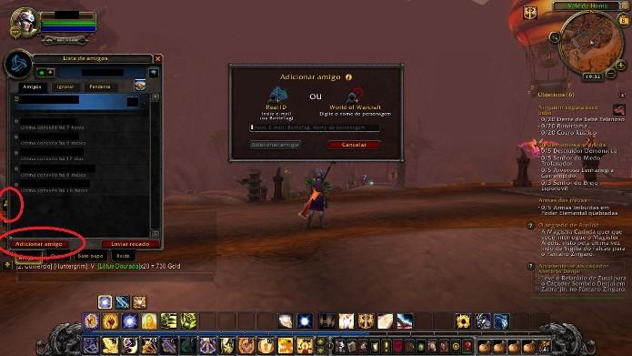 No caso de World of Warcraft, aperte a tecla-atalho O para acessar sua lista de amigos (Foto: Reprodução / João Moura)