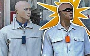 Ladrão simulou ser manequim para evitar prisão em loja na Argentina. (Foto: Ilustração: Arte/G1)