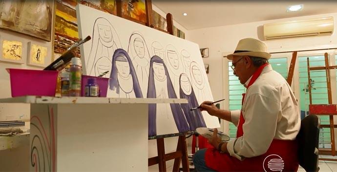 Secretário Olavo Braz revela talentos como pintor (Foto: Reprodução/Rede Clube)