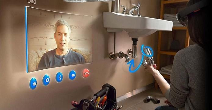 HoloLens podem ser usados para ligações no Skype e até instruções (Foto: Divulgação/Microsoft)