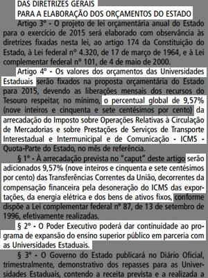Na LDO de 2015, aprovada em 31 de julho, o orçamento das universidades paulistas permaneceu igual ao ano anterior (Foto: Reprodução/Imprensa Oficial)