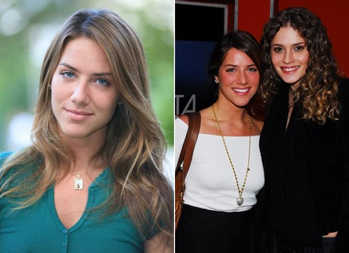 À esquerda, Giovanna como a personagem Sharon e, à direita, a atriz com Raquel Galvão no primeiro capítulo da trama (Foto: Léo Lemos / Kiko Cabral / TV Globo)