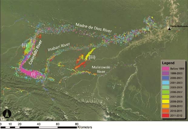 A ocupação de grandes e pequenas mirenadoras na região sul de Madre de Dios, entre 1999 e 2012 (Foto: Divulgação PNAS/ Gregory P. Asner, William Llactayo, Raul Tupayachi, and Ernesto Ráez Luna)