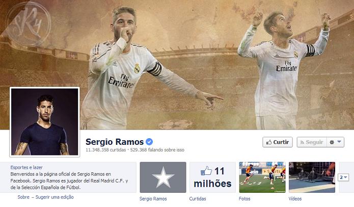 Sergio Ramos do Real Madrid tem11,139,444 de fãs no Facebook (Foto: Reprodução/Facebook)