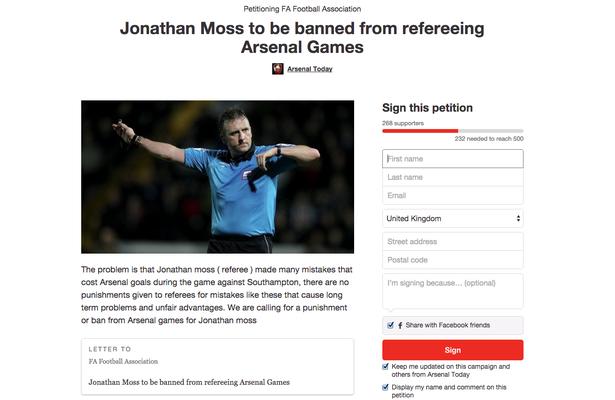 Petição dos torcedores do Arsenal contra o árbitro