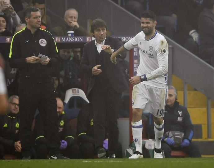 Diego Costa, Antonio Conte, Crystal Palace x Chelsea (Foto: Reuters)
