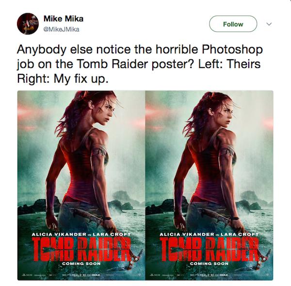 Um fã ironizando o polêmico pôster de Tomb Rider, com Alicia Vikander (Foto: Twitter)