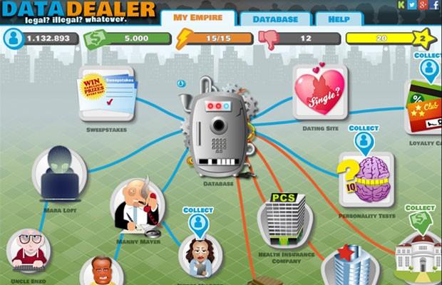 """Imagem do game """"Data Dealer"""", que parodia a compra e venda de dados pessoais na internet (Foto: Reprodução/Datadealer.com)"""