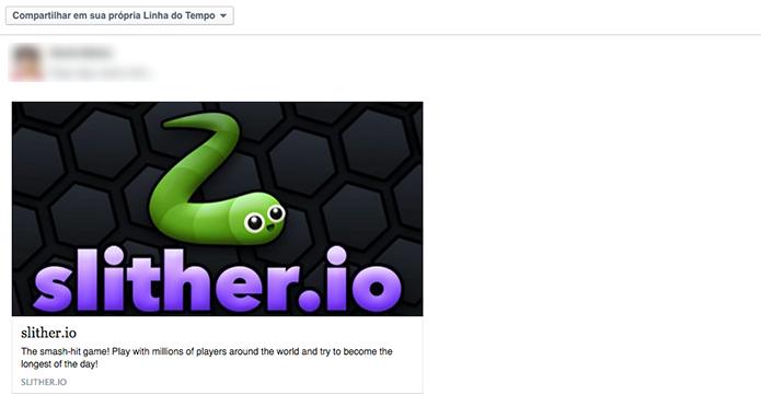 Compartilhe o link do Slither.io no Facebook (Foto: Reprodução/Murilo Molina)