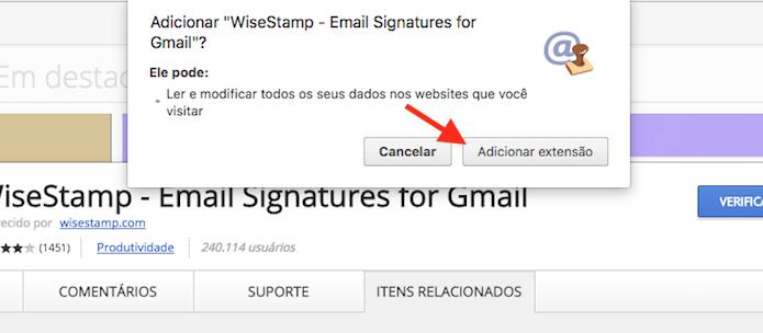 Opção para instalar a extensão WiseStamp no Google Chrome (Foto: Reprodução/Marvin Costa)