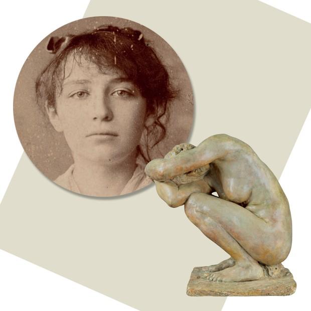 La Femme Accroupie (1884-1885). Acima, Camille em 1884 (Foto: Musée Camille Claudel / Marco Illuminati)