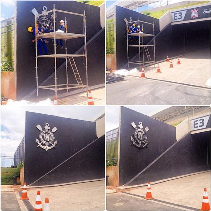 Arena Corinthians ganha primeiro escudo do clube na parte externa