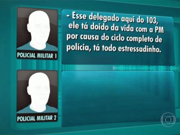 Áudio mostra como policial militar se referiu a delegado como estressadinho (Foto: TV Globo/Reprodução)