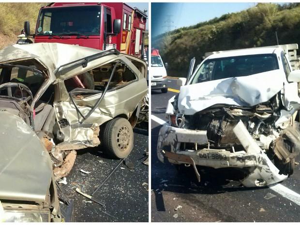 Acidente entre carro e caminhonete deixou um homem morto e outro ferido em São José do Rio Pardo (Foto: Gabriel Navega/ Arquivo Pessoal)