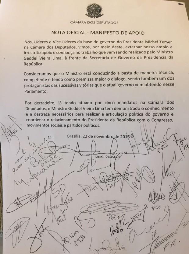 Manifesto entregue a Geddel Vieira Lima por líderes de partidos da base aliada (Foto: Luciana Amaral/G1)
