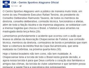 Nota CSA - Chapecoense (Foto: CSA/Divulgação)