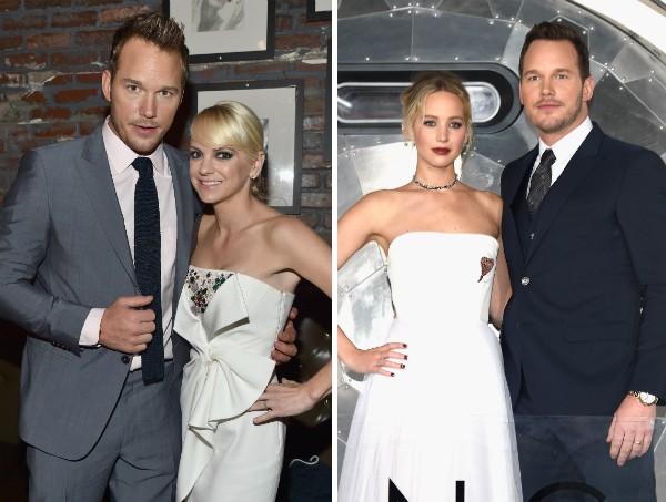 O ator Chris Pratt com sua ex, a atriz Anna Faris, e com a atriz Jennifer Lawrence (Foto: Getty Images)