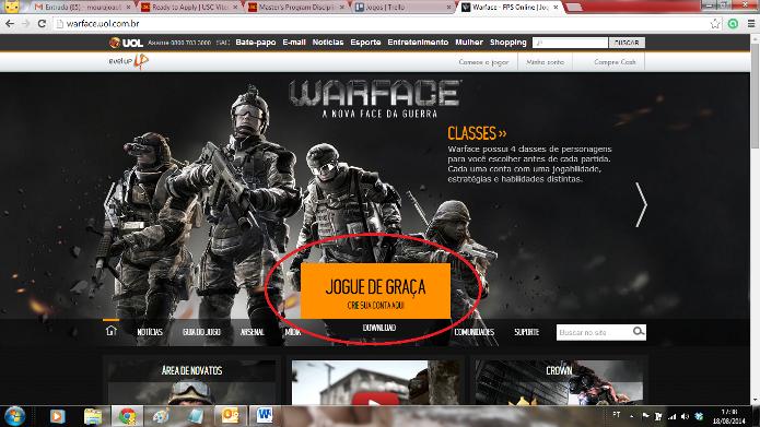 Entre no site do game e clique no botão para criar sua conta (Foto: Reprodução / João Moura)