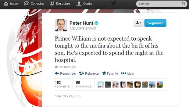 Peter Hunt, repórter da BBC (Foto: Reprodução/Twitter)