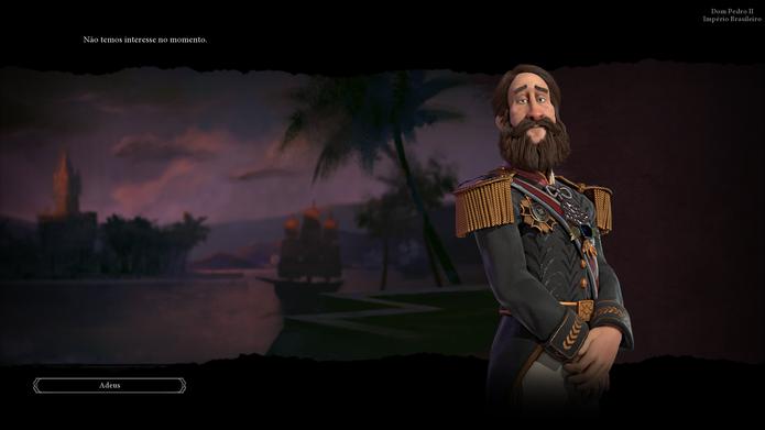 Nem Dom Pedro II tem interesse pelo sistema de negociações em Civilization VI (Foto: Reprodução / Caio Fagundes)