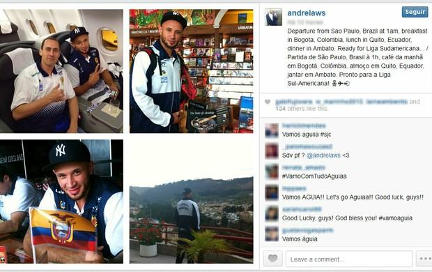 André Laws registra momentos da viagem do São José Basquete ao Equador (Foto: Reprodução / Instagram)