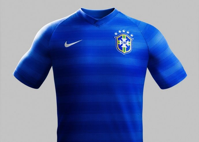 82b4334f13 Nova camisa azul é listrada e será usada pelo Brasil contra África ...