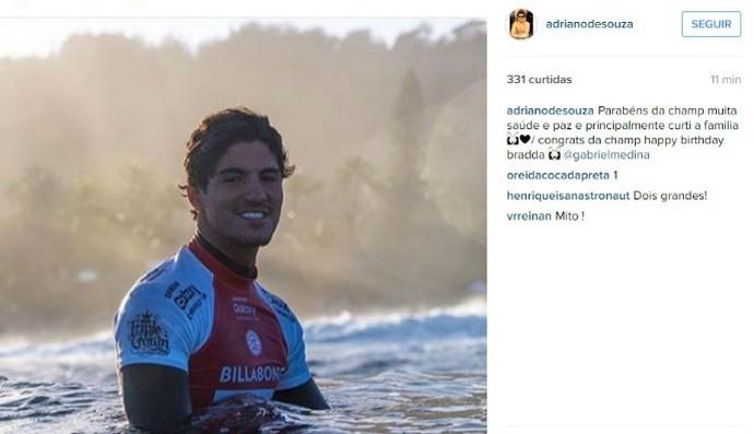 Mineirinho parabeniza Gabriel Medina com foto em rede social (Foto: Reprodução/Instagram)