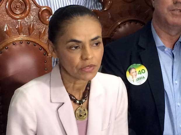 Candidata Marina Silva em entrevista coletiva neste sábado, em Campinas (SP).  (Foto: Marcello Carvalho/G1)