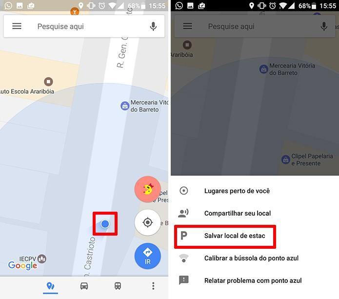 Google Maps permite que usuário salve local de estacionamento no aplicativo (Foto: Reprodução/Elson de Souza)