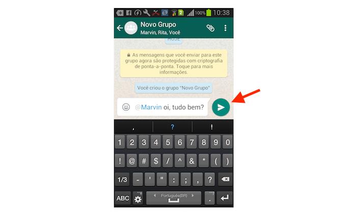 Mensagem em grupo do WhatsApp com um contato específico marcado (Foto: Reprodução/Marvin Costa)