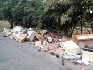 Lixo acumulado em esquina de vias da VIla Sônia chamou a atenção de leitor (Foto:  Erick Marques/VC no G1)