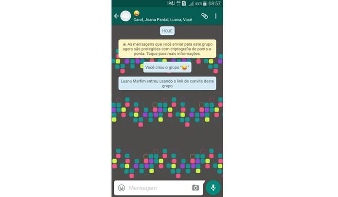 Cada vez que um participante entra no grupo usando o link, o administrador recebe um alerta (Foto: Reprodução/ Aline Batista)
