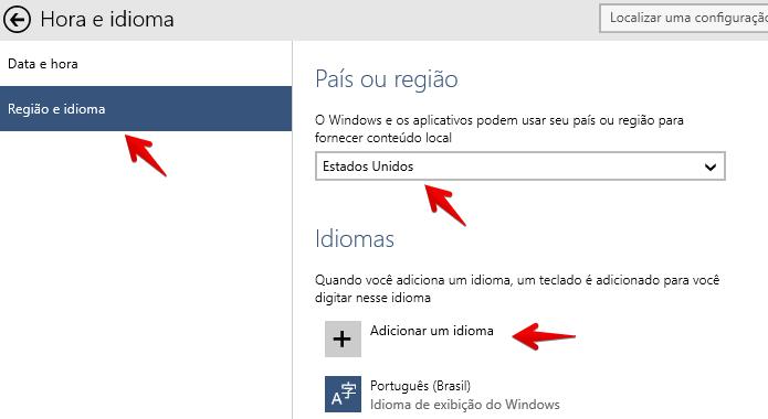 Altere a região e clique para adicionar um novo idioma (Foto: Reprodução/Helito Bijora)