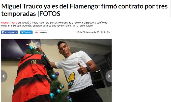 Miguel Trauco revela ter assinado com Flamengo (Foto: Reprodução)