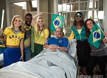 Copa entra em cena em 'Geração', e elenco posa na torcida pela seleção brasileira