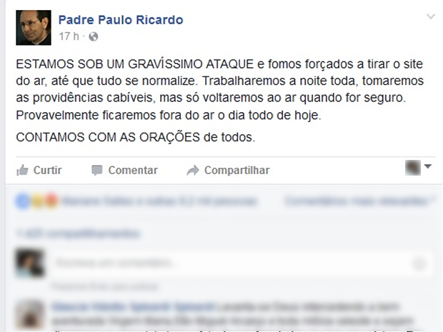 Em sua página em uma rede social, padre pede orações a seguidores (Foto: Fazebook/Reprodução)