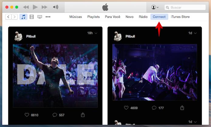 Acessando o feed de notícias do Connect no iTunes (Foto: Reprodução/Helito Bijora)
