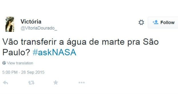 Tweet Nasa 1 (Foto: bbc)