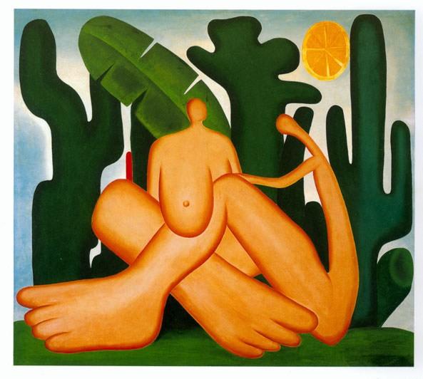 Obra Abaporu, de Tarsila do Amaral, que mostra uma índia e um índio nus (Foto: Divulgação)