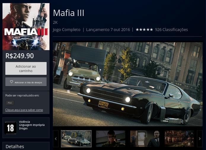 Página de Mafia 3 na PlayStation Store (Foto: Reprodução/André Mello)
