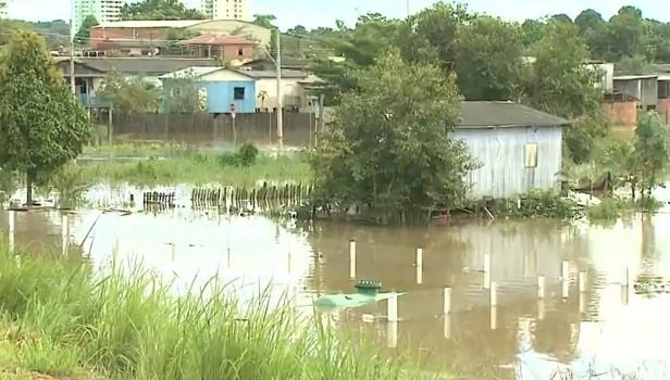 Em menos de 24 horas, cheia do Rio Acre,  desabrigou mais de 200 pessoas  (Foto: Amazônia TV)