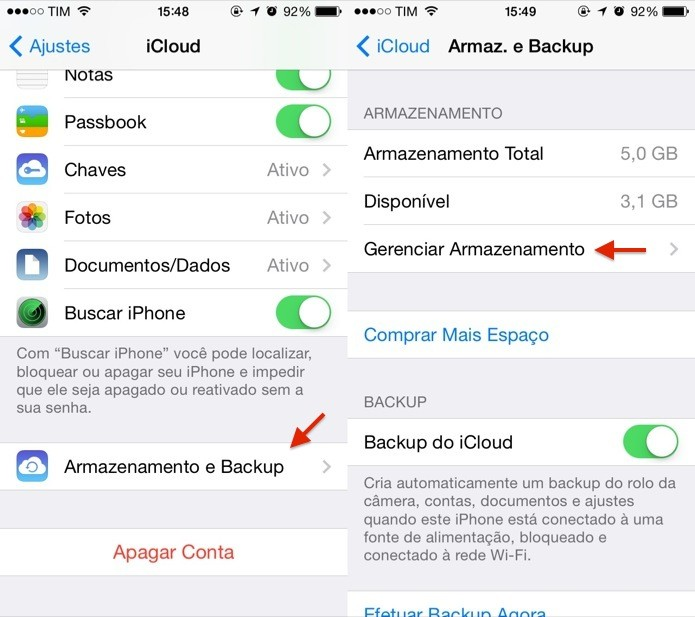 Configurando backup do iCloud (Foto: Reprodução/Helito Bijora)
