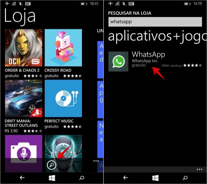 Pesquise pelo WhatsApp para localizar o app (Foto: Reprodução/Helito Bijora)