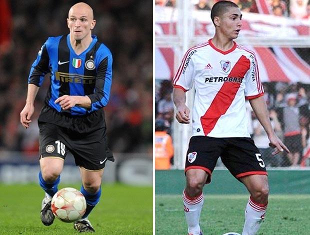 Ezequeil Cirigliano, do River, e Esteban Cambiasso, do Inter (Foto: Divulgação)