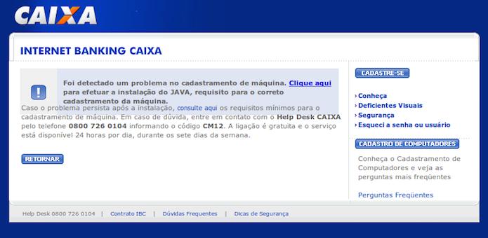 Internet banking da Caixa Econômica Federal exigindo a instalação de Java (Foto: Reprodução/Edivaldo Brito)